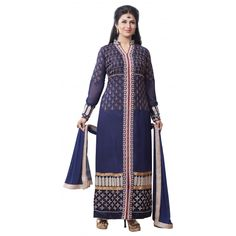 Multicolor Georgette Embroidered Salwar Suit