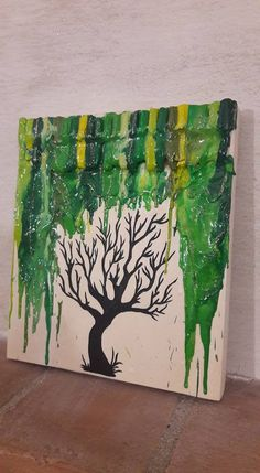 Quadro albero spoglio sotto pioggia di cera verde, by Vale Decò, 30,00 € su misshobby.com
