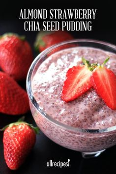 "Almond Strawberry Chia Seed Pudding | ""Have been making chia pudding for some time now and I liked the idea of adding the puréed fruit for a nice change."""