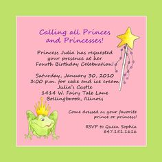 Princess Party Invite Wording Birthday Invitation Message Invitations Kids 11th Carnival