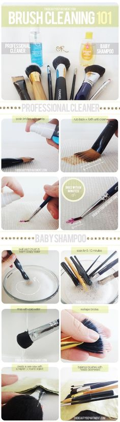 Clean make-up brushes with baby shampoo - 12 Homemade DIY Makeup Brush Cleaners | GleamItUp