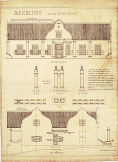 Elevations, bell tower & front garden enclosure of the Meerlust homestead, built in Cape Dutch style with a thatched roof and convex-concave gables. Cultural Architecture, Classic Architecture, Architecture Drawings, Architecture Plan, Architecture Details, Dutch Bros, Cape Cod, Cape Dutch, African House