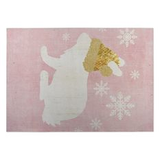 Kavka Designs / White/ Gold A Christmas Bunny 2' x 3' Indoor/ Outdoor Floor Mat