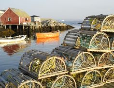 Lobster Traps ~ Peggy's Cove Harbor in Nova Scotia - 1989