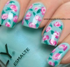 Nail Art - Vintage Roses ~ The combination of a (minty) blue base with light pink roses always make me think of vintage patterns. The base I used for this manicure is one of last year's ORLY polishes named 'Pretty-Ugly'. For the roses I've used two of my favorite and most worn Essie polishes, 'Go Ginza' and 'Secret Story' while the leaves are painted with Michelle M39. ~ by My Nail Polish Online