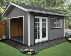 Look through our gallery of storage sheds, custom garages, and backyard buildings, and you'll find inspiration for what you can build on your property. Backyard Gym, Backyard Storage, Backyard Patio Designs, Shed Storage, Gym Shed, Pool Shed, Wood Shed Plans, Shed Building Plans, Barn Plans