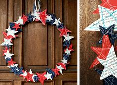 <3 this!  sewn fabric & paper stars & an embroidery hoop - - - A simple, creative and patriotic wreath to add a little charm to the front door (using stuff you already have & no money spent!)
