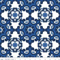 Riley Blake Designs - Home Decor Basics - Ornate Damask in Navy from Hawthorne Threads $10.95