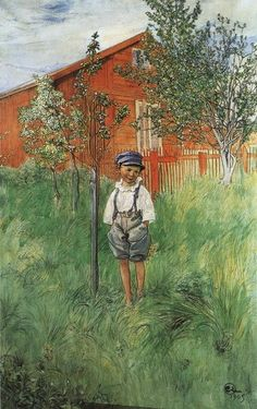 Carl Larsson >> Esbjörn And His Apple Tree  |  (Watercolor, artwork, reproduction, copy, painting).