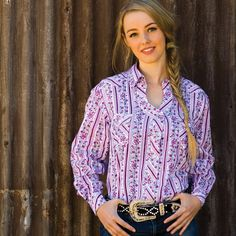 Ladies Western Shirt | Long Sleeve Ladies Floral Shirt Ladies Western Shirts, Ladies Shirts, Work Shirts, Western Wear, Long Sleeve Shirts, Shirt Dress, Lady, Orchid, Cotton