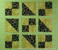 "Easy Jacob's Ladder Quilt Block Instructions for 4.5"", 6"", 7.5"", 9"", 12"" blocks"