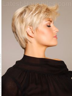 Pure Blonde Bangs Cropped Cut Side View