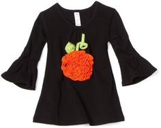 Love U Lots Baby-Girls Infant Ruched Pumpkin Applique Gathered Neck Tunic Top
