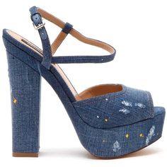 DSQUARED2 Denim Platform Ziggy Sandals (29,795 INR) ❤ liked on Polyvore featuring shoes, sandals, platform shoes, denim shoes, dsquared2, denim platform shoes and denim sandals
