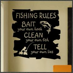 Sports Wall Decal Funny Fishing Rules, Vinyl Wall Lettering for Game Room, Humorous Man Cave Wall Decoration, Retirement Gift for Dad – Famous Last Words Fishing Signs, Fishing Bait, Best Fishing, Fishing Rod, Fishing Stuff, Fishing Reels, Fishing Tackle, Fishing Games, Saltwater Fishing