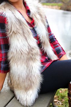 Beige and Tan Fur Vest | UOIOnline.com: Women's Clothing Boutique