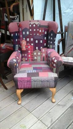 / appliqué and patchwork chair / Funky Furniture, Upcycled Furniture, Unique Furniture, Furniture Makeover, Painted Furniture, Furniture Design, Lounge Furniture, Chair Upholstery, Upholstered Furniture