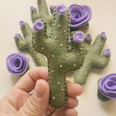 Mini cactus and mini flower magnets in lavender are here! Shop now! 🌵💜🌵 #Cactusflower Handmade Flowers, Diy Flowers, Lavender Flowers, Felt Flowers, Flower Crafts, Diy Magnets, Felt Ornaments, Cactus Craft, Cactus Decor
