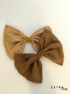 Salvaged Series: Brown and Gold Hair Bows Set of 2 by ExtraSassy