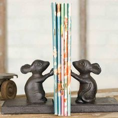 Made of cast iron these adorable mouse bookends will add charm to any setting. So inquisitive, these little mice will hold all your favorite books…