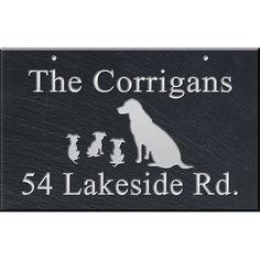 Hanging Slate Address Plaque 12 x 19, Dogs