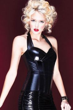 Coquette Wetlook Halterneck Bustier, Black Corset Style Top - Click to enlarge