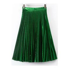 SheIn(sheinside) Green Pleated A Line Midi Skirt ($27) ❤ liked on Polyvore featuring skirts, green, green knee length skirt, knee length a line skirt, pleated skirt, pleated a line skirt and knee high skirts