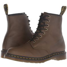 Dr. Martens 1460 (Grenade Green Carpathian) Lace-up Boots (100 AUD) ❤ liked on Polyvore featuring shoes, boots, brown, brown shoes, leather upper boots, green lace up boots, lacing boots and brown boots