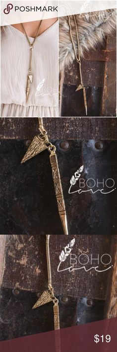 "NWT Boho Wild Child Antique Golf Aztec Necklace Gold Dagger Necklace   Color: Gold Measurements: 19 1/2"" Jewelry Necklaces"