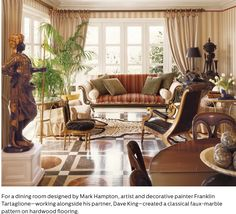 """Decorator Mark Hampton commissioned a compelling faux-marble motif for the floor of a sitting area in a house in Quogue, New York. The trompe l'oeil effect is """"in perfect balance with the classic furnishings and lavish fabrics of the room"""". Via Elle Decor Painted Wood Floors, Hardwood Floors, Flooring, Sri Lanka, Masculine Living Rooms, Wood Floor Design, Luxury Interior, Interior Design, Dining Room Design"""