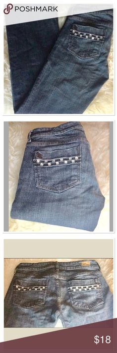 See Thru Soul Blue Denim Boot Cut Jeans These pre-loved jeans are in great condition! Two rows of rhinestones on back pockets. Size 27 x 29. See Thru Soul Jeans Boot Cut
