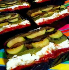 Grilled vegetable terrine.  This is a glorious way to serve salad. This dish disappears.