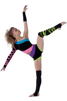 5474 Electric Kingdom | Lyrical Contemporary Dance Costumes | Dansco 2015 | Black spandex short unitard with peacock, hot pink, purple and lime spandex and nude mesh inserts. Adjustable nude elastic strap and hot pink spandex binding ties.