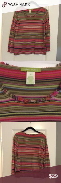 Sigurd Olsen Multi Color Sweater GUC sweater with multi color stripes. Sigrid Olsen Sweaters Crew & Scoop Necks