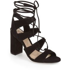 """Vince Camuto 'Winola' Ghillie Sandal, 4"""" heel ($129) ❤ liked on Polyvore featuring shoes, sandals, black nubuck leather, lace up sandals, black gladiator sandals, high heel shoes, black shoes and black lace up sandals"""