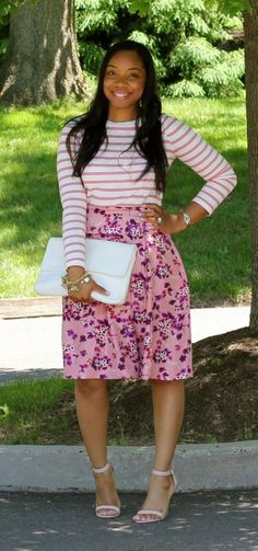 Style & Poise: Mixing Prints-Floral and Stripes <-- I have this skirt I can recreate this