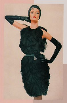 """Great little black Coctail dress by JAMES GALANOS late 50's """"I'm only interested in designing for a certain type of woman"""" (minkshmink)"""