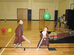 Light saber technique class for a Jedi academy party:  see how long you can keep the balloon in the air using your light saber.   #starwars
