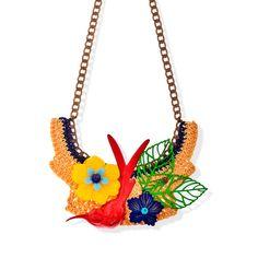 Statement necklace, Bold chunky necklace, Enamel necklace, Bird necklace, Flower necklace collage vintage by myfaunaflora on Etsy https://www.etsy.com/listing/180054903/statement-necklace-bold-chunky-necklace