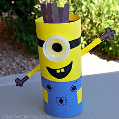 Learn how to make a minion toilet paper roll craft from the movie despicable me. Easy and cheap recycled art project.