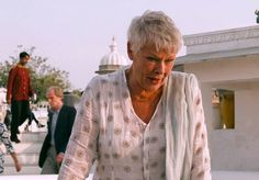 I loved all of the outfits Judi Dench wore in Exotic Marigold Hotel.