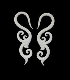 Trilogy Sprout, 8g gauged earrings. Organic bone earrings