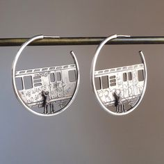 These are AWESOME! Train Hoops customizable by dmdmetal on Etsy, $375.00