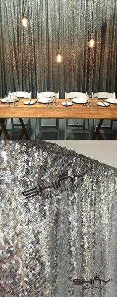 BRIDE'S CHOICE 6FTx6FT Silver Sequin photo booth, Wedding decoration fabric, baby shower, Royal Blue sequin backdrop,Sequin tablecloth,sequin fabric (Silver)