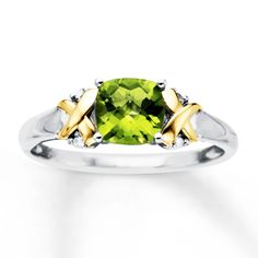 Peridot Ring Diamond Accents Sterling Silver/10K Gold
