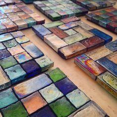 Glass Mosaic Coasters by christinajohnsonart on Etsy