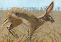 Jack Rabbit, pastel on monotype
