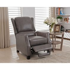 Shop for Staten Grey Premium Top Grain Leather Recliner Chair. Get free delivery On EVERYTHING* Overstock - Your Online Furniture Shop! Get in rewards with Club O! Grey Recliner, Leather Recliner Chair, Recliner Slipcover, Recliners, Recliner Chairs, Swivel Recliner, Best Leather Sofa, Black Leather Sofas, Recliner