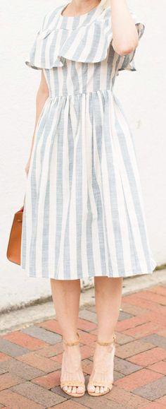 Stripe Sundress - Rachel Parcell Santorini Dress - Blue and White Stripes - Poor Little It Girl