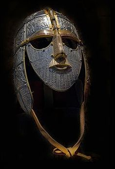 A replica of the Sutton Hoo helmet produced for the British Museum. Sutton Hoo was an Anglo saxon burial which showed the richness of Anglo Saxon culture. Particularly their exquisite craftsmanship and extensive trading networks. Armadura Medieval, Viking Helmet, Viking Age, Viking Armor, Warrior Helmet, Ancient Armor, Anglo Saxon Runes, Sutton Hoo, Roman Empire